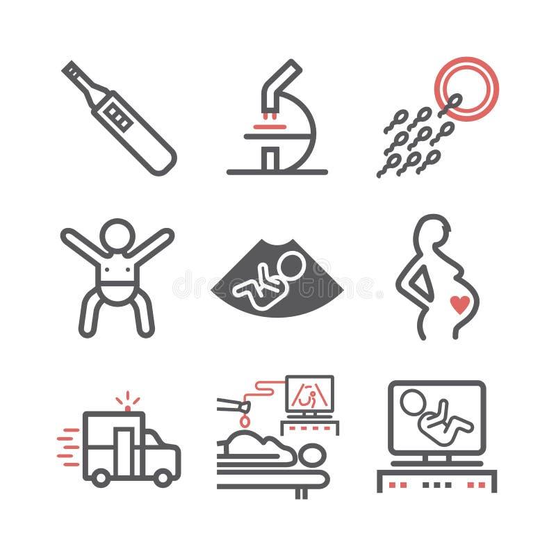 Schwangerschaftslinie Ikonen eingestellt Infographics Vektorzeichen für Netzgraphiken vektor abbildung