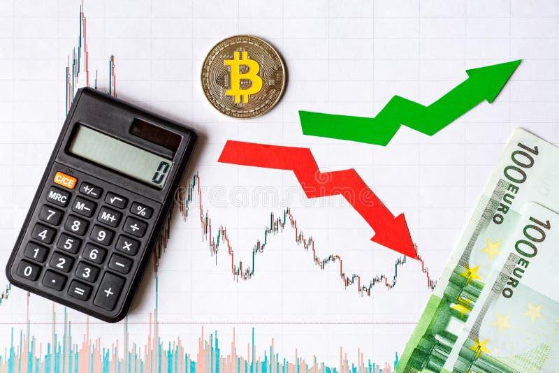 Schwankungen und Voraussage von Wechselkursen des virtuellen Geldes Rote und grüne Pfeile mit goldener Bitcoin-Leiter auf Weißbuc lizenzfreie stockfotos