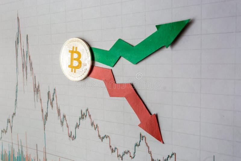 Schwankungen und Voraussage von Wechselkursen virtuellen Geld bitcoin Rote und grüne Pfeile mit goldener Bitcoin-Leiter auf Grau stockfotos