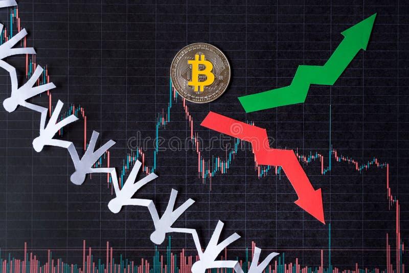 Schwankungen und Voraussage von Wechselkursen virtuellen Geld bitcoin Rote und grüne Pfeile mit goldener Bitcoin-Leiter auf Schwa lizenzfreies stockbild