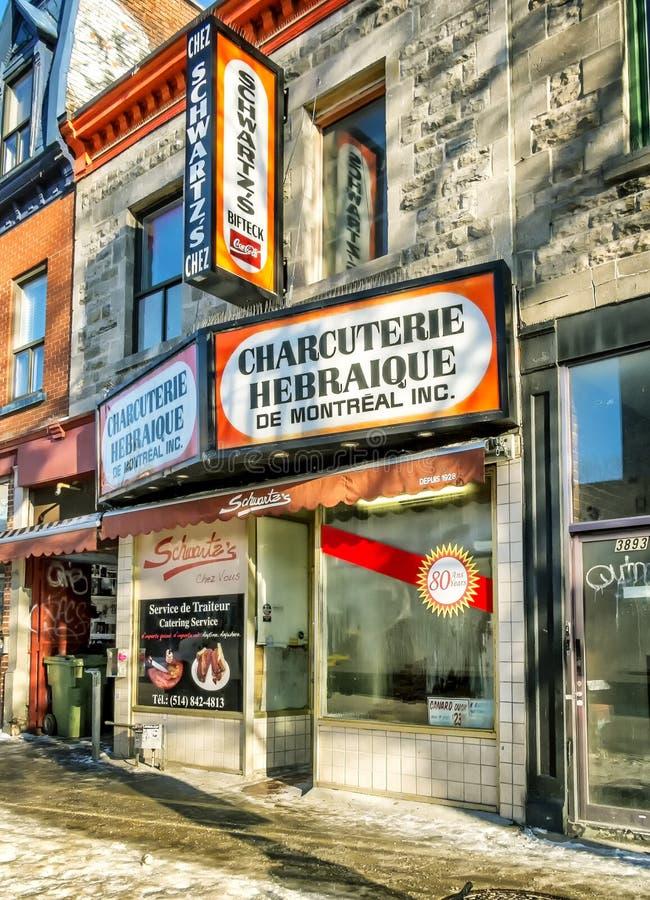 Schwartz, Montreal hebrajszczyzny garmażeria zdjęcie stock