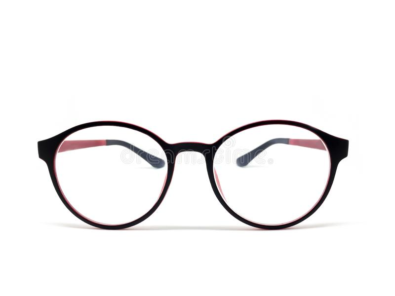 Schwarz-Schwarz-Brillen isoliert für Modellsymbole auf weißem Hintergrund lizenzfreie stockbilder