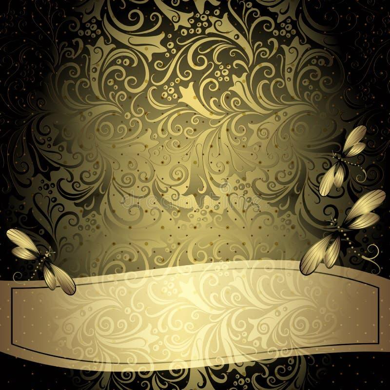 Schwarz-Goldweinlese-Blumenrahmen lizenzfreie abbildung