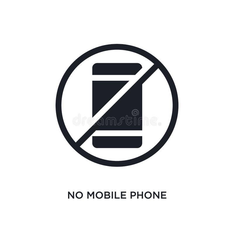 schwarz keine Handy lokalisierte Vektorikone einfache Elementillustration von den Verkehrsschilderkonzept-Vektorikonen Kein Handy lizenzfreie abbildung