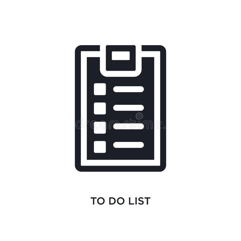 schwarz Liste lokalisierte Vektorikone tun einfache Elementillustration von den Turnhallen- und Eignungskonzeptvektorikonen zu di stock abbildung