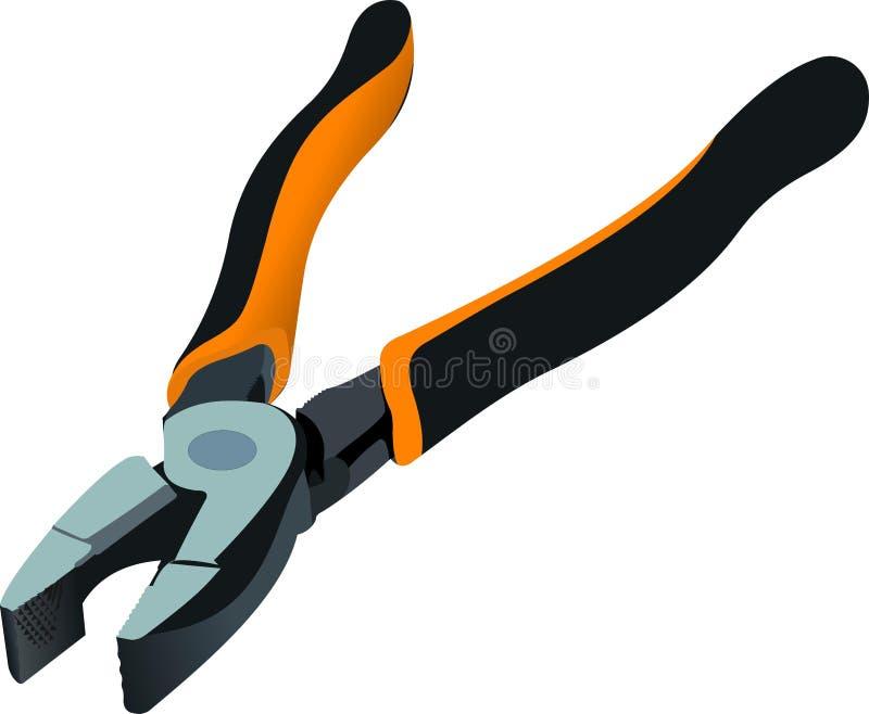 Schwarz-orange Zangen lokalisiert auf weißem Hintergrund stock abbildung