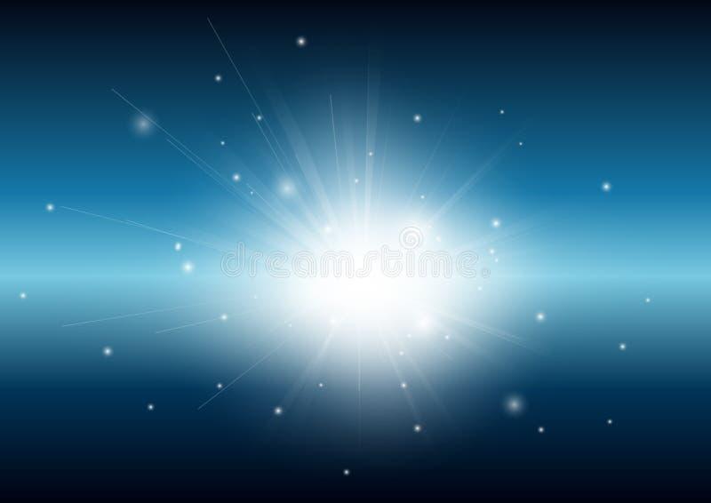 Schwarz und blau mit glühendem Strahlnzusammenfassungshintergrund des hellen Strahls lizenzfreie stockfotos