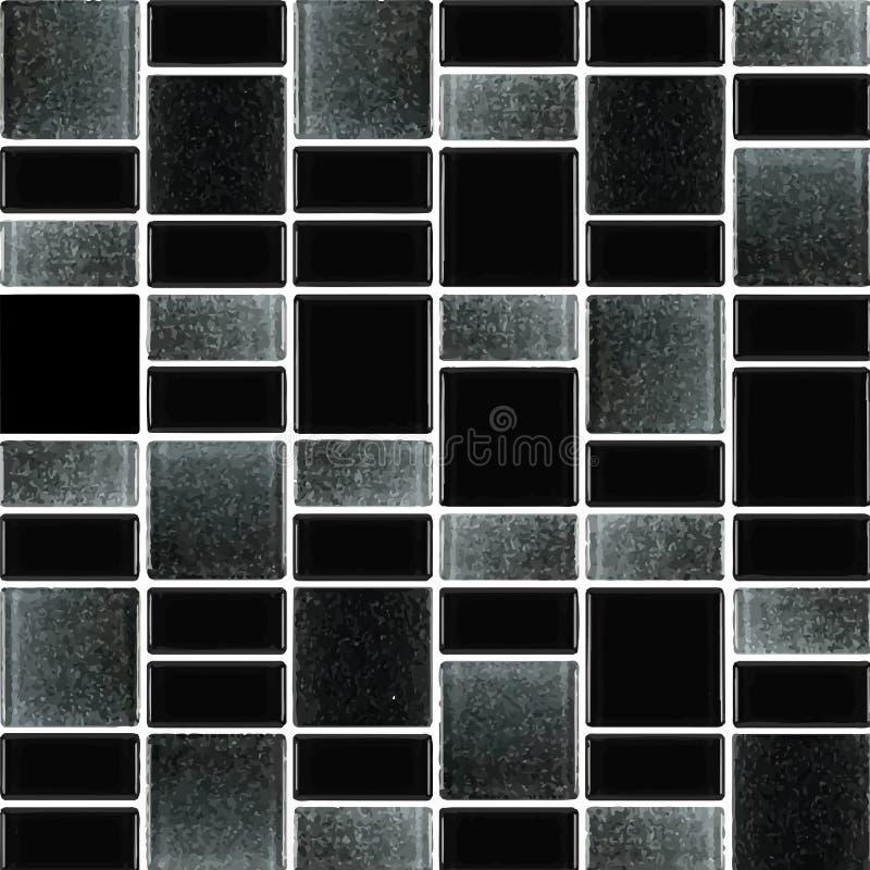 Schwarz und grau das wirkliche Foto oder der Ziegelstein der Fliesenwandhohen auflösung nahtlos und Beschaffenheitsinnenhintergru stock abbildung