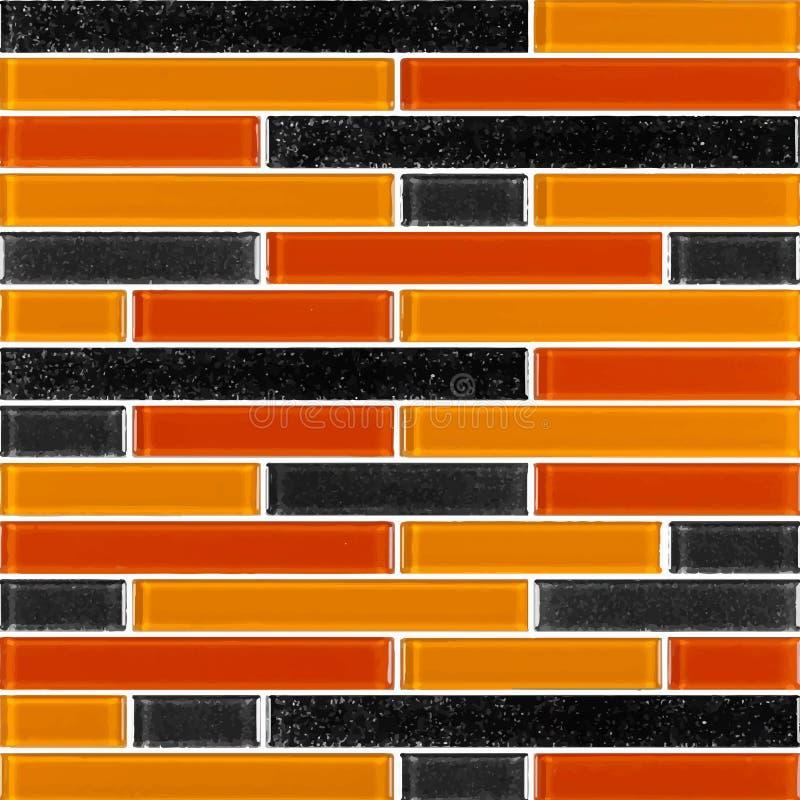 Schwarz und orange das wirkliche Foto oder der Ziegelstein der Fliesenwandhohen auflösung nahtlos und Beschaffenheitsinnenhinterg stock abbildung