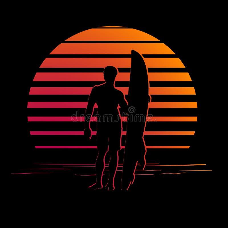 Schwarz und Orange streift Logo mit Surferschattenbild lizenzfreie abbildung