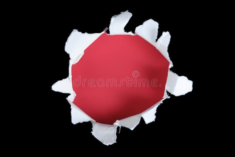 Schwarz und Rot heraus zerrissen durchlöchern Sie stockfotografie