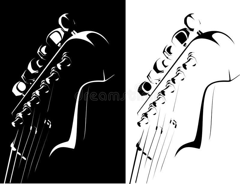 Schwarz-weiße Version der elektrischen Gitarre stock abbildung