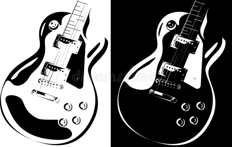 Schwarz-weiße Version der elektrischen Gitarre vektor abbildung