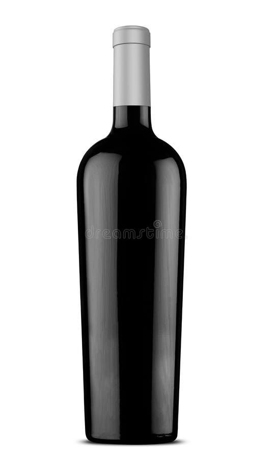 Schwarz-Weinflasche der Illustration 3d mit silberner Kappe stock abbildung
