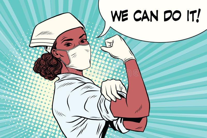 Schwarze Ärztin können wir es tun lizenzfreie abbildung