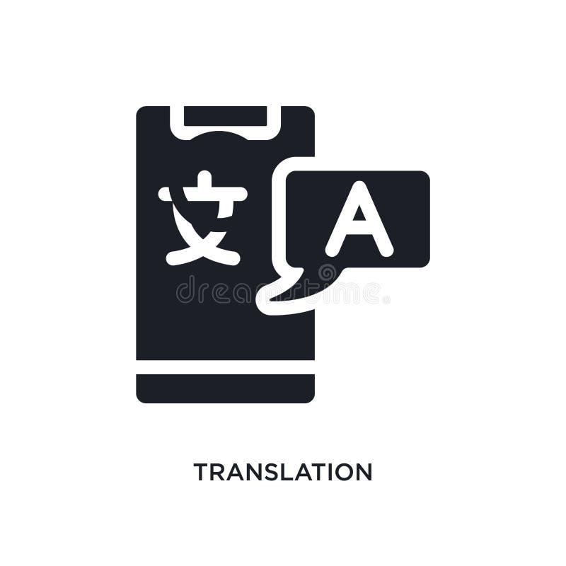 schwarze Übersetzung lokalisierte Vektorikone einfache Elementillustration von den Konzeptvektorikonen der künstlichen Intelligen stock abbildung