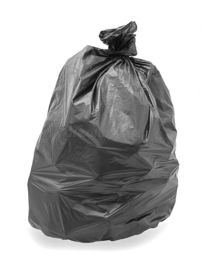Schwarze Abfall-Tasche stockbild