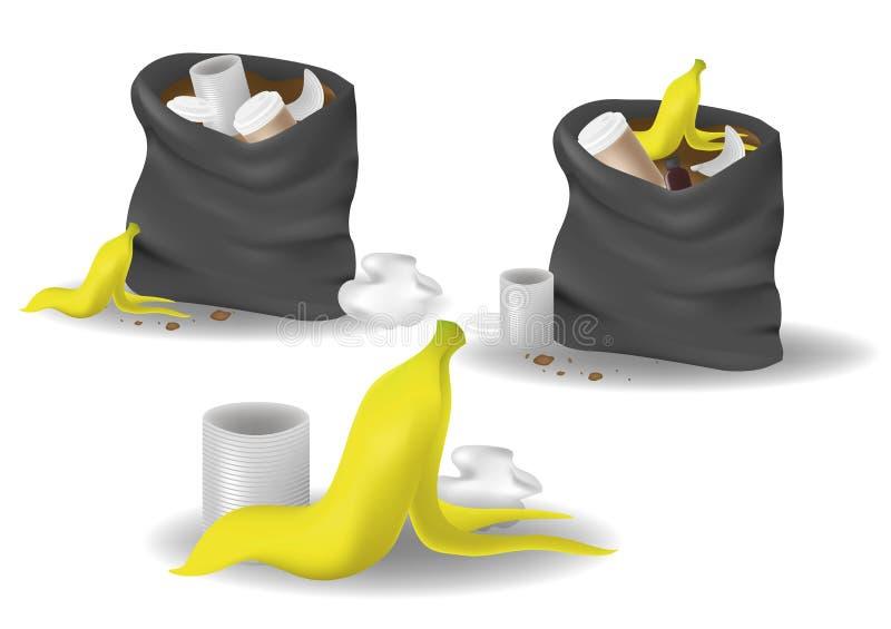 Schwarze Abfalltasche offen mit Plastik und Lebensmittelabfällen Realistischer Satz des Abfalls lokalisiert auf weißem Hintergrun lizenzfreie abbildung