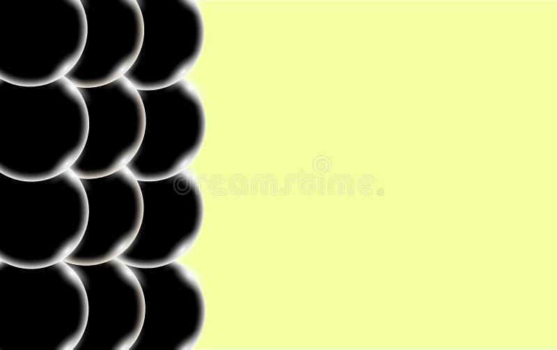 Schwarze abstrakte glänzende schöne und konvexe glatte dreidimensionale einfache Bälle, Blasen, Kreise mit grellem Glanz des Lich stock abbildung
