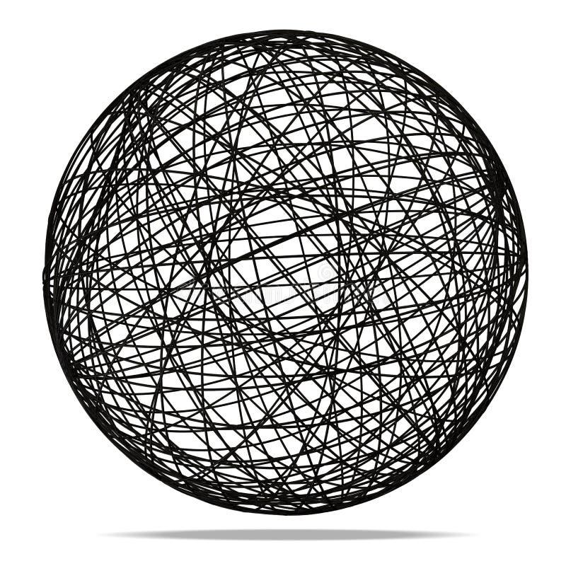 Schwarze abstrakte Kugel auf weißem Hintergrund lizenzfreie abbildung