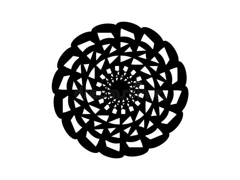 Schwarze abstrakte Mandala auf weißem Hintergrund Mandaladekor-Vektorelement Runde Stempelschablone lizenzfreie abbildung