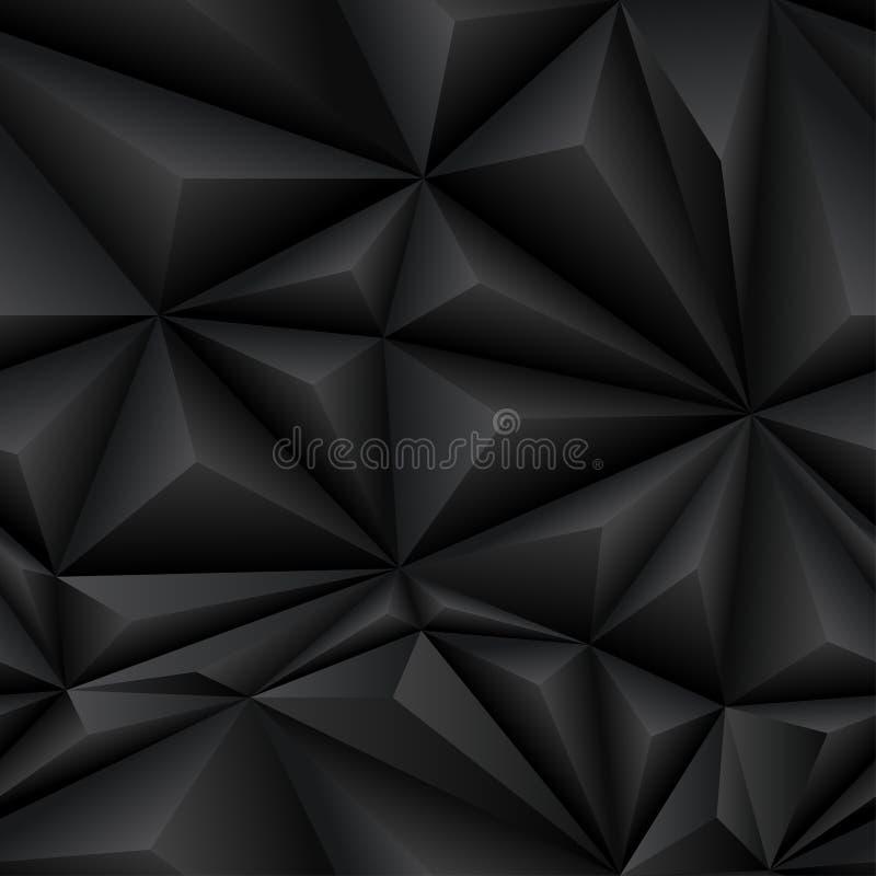 Schwarze abstrakte Polygon-Hintergrund-Fliese lizenzfreie abbildung