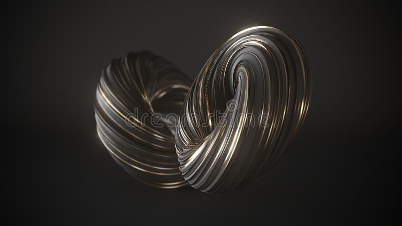 Schwarze abstrakte verdrehte Form der Lech- und Goldstreifen des Pinselanschlags Digital-Kunsthintergrundschablone 3d übertragen stock abbildung