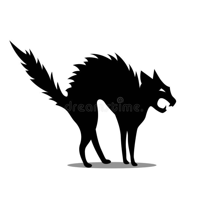 Schwarze aggressive Katze lizenzfreie abbildung