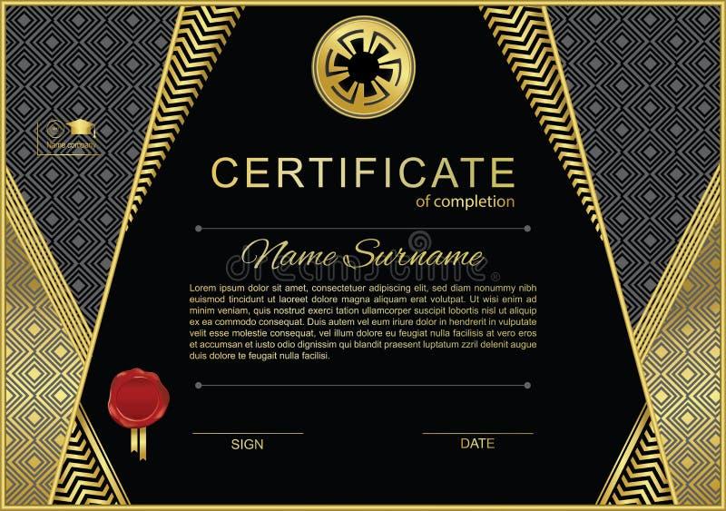 Schwarze amtliche Bescheinigung mit Goldgestaltungselementen und -oblate stock abbildung