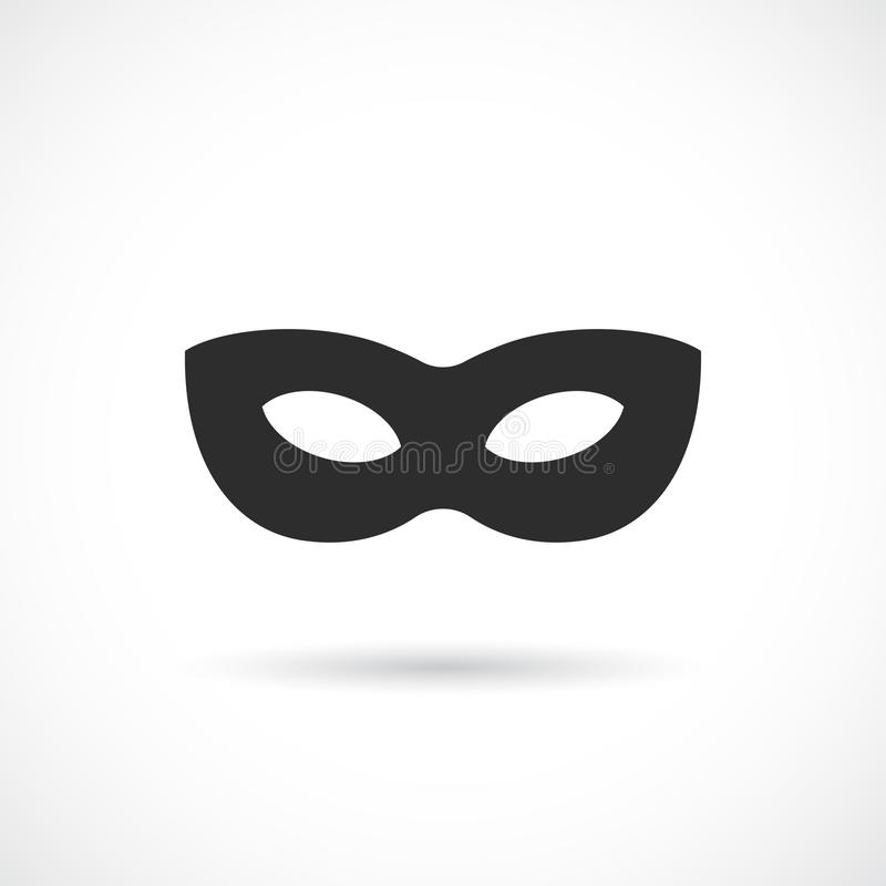 Schwarze anonyme Maskenvektorikone lizenzfreie abbildung
