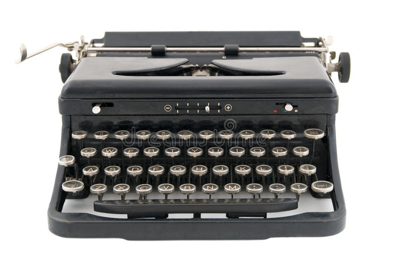 Schwarze antike Schreibmaschinen-Vorderansicht stockbild