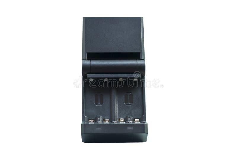 Schwarze Aufladung für die wieder aufladbaren Fingerbatterien lokalisiert lizenzfreie stockfotos
