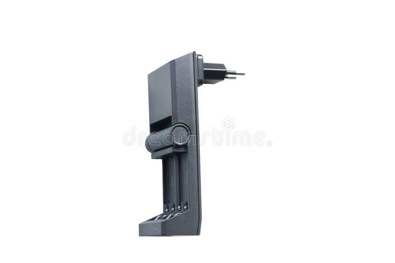 Schwarze Aufladung für die wieder aufladbaren Fingerbatterien lokalisiert lizenzfreie stockbilder