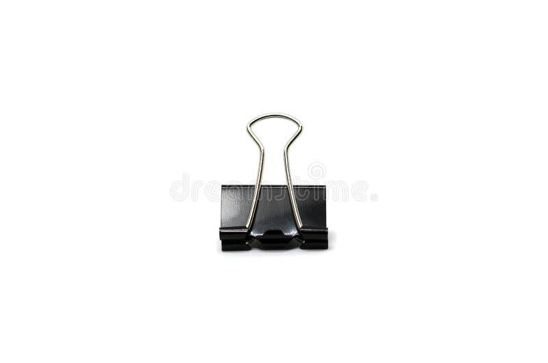schwarze Büroklammer lokalisiert lizenzfreies stockbild