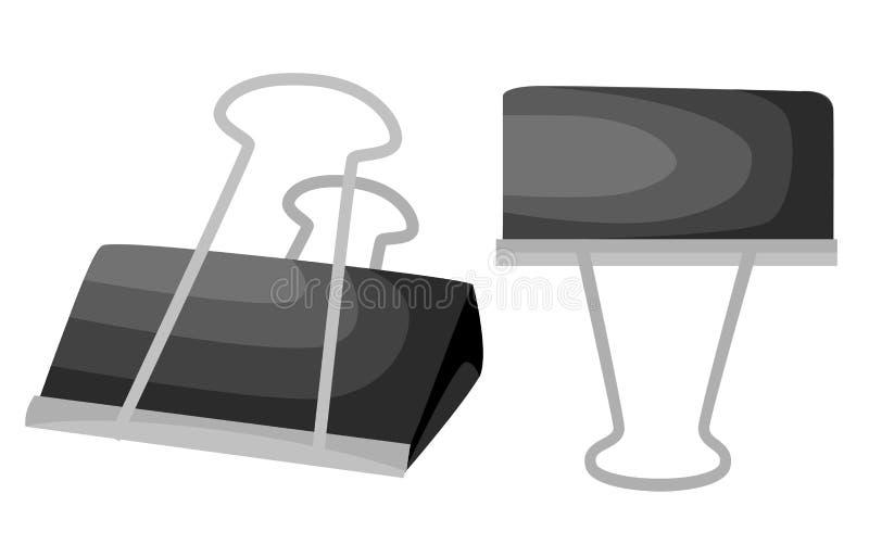 Schwarze Büroklammer lokalisiert auf Weiß Vector Illustration Websiteseite und bewegliche APP-Designillustration lizenzfreie abbildung