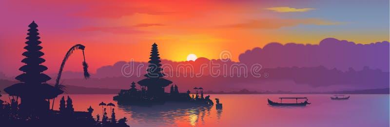 Schwarze Balinesewasser-Tempel- und Fischerbootsschattenbilder auf Regenbogenfarbsonnenuntergang-Himmelhintergrund, Vektorfahne vektor abbildung