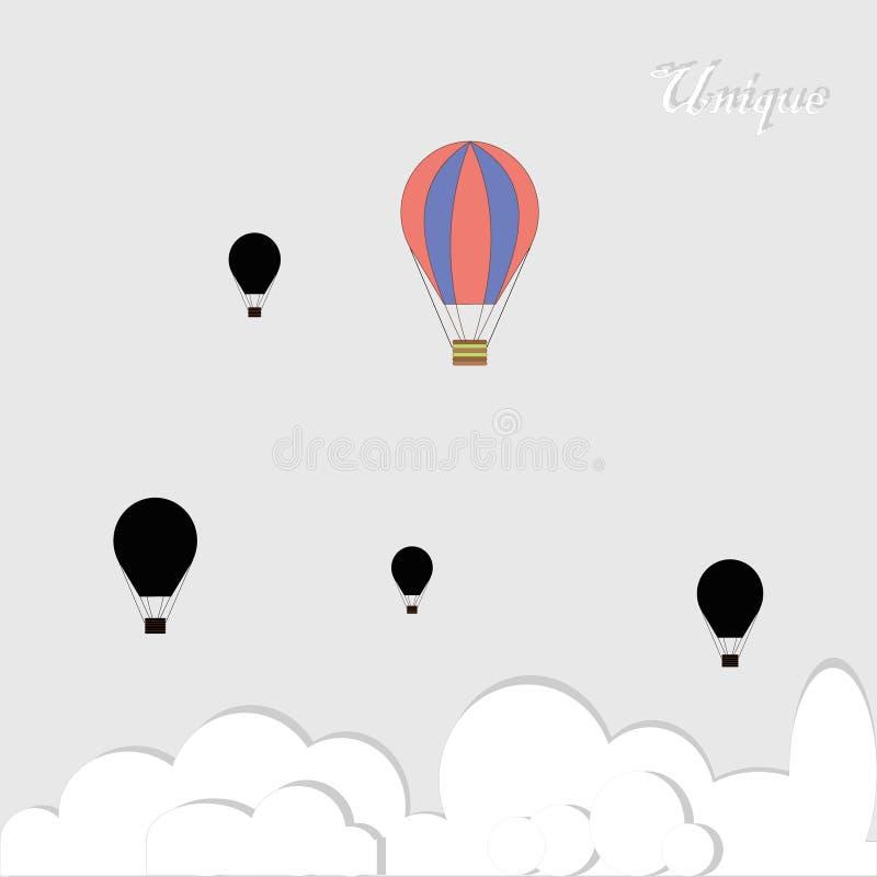 Schwarze baloons und eins bunt in Konkurrenz auf grauem Hintergrund vektor abbildung