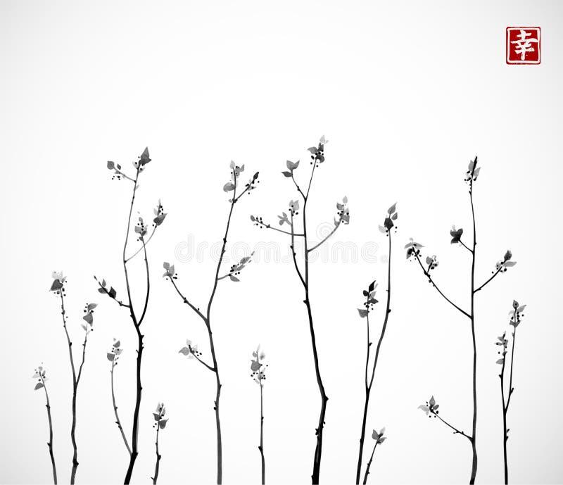 Schwarze Baumaste mit frischen Blättern auf weißem Hintergrund Traditionelles orientalisches Tintenmalerei sumi-e, Usünde, GehenH vektor abbildung