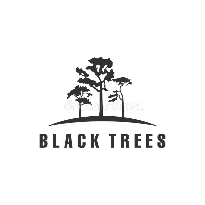 Schwarze Baumlogoentwürfe stock abbildung