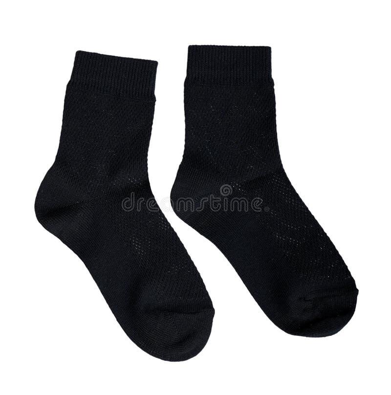 Schwarze Baumwollsocke, Fußkleidung Lokalisiert auf Wei? lizenzfreies stockbild