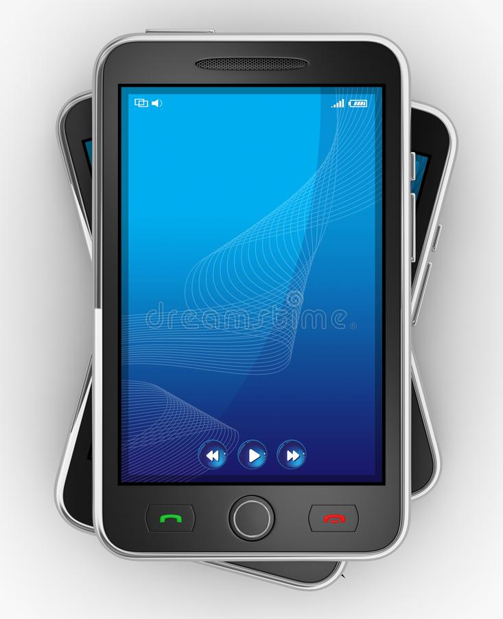 Schwarze bewegliche smartphones - 3d übertragen stock abbildung