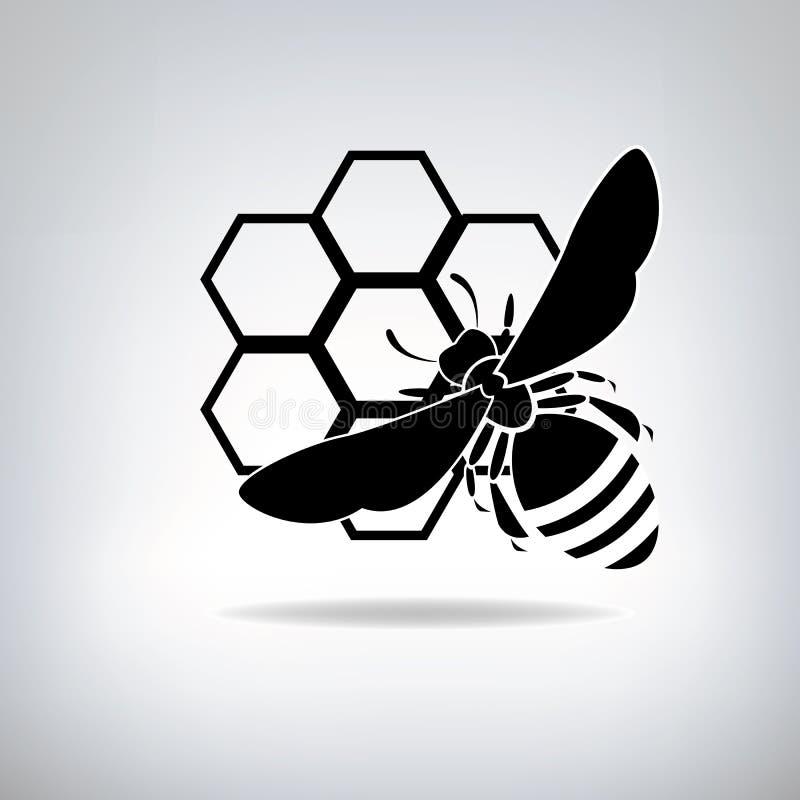 Schwarze Bienen und Honig lizenzfreie abbildung