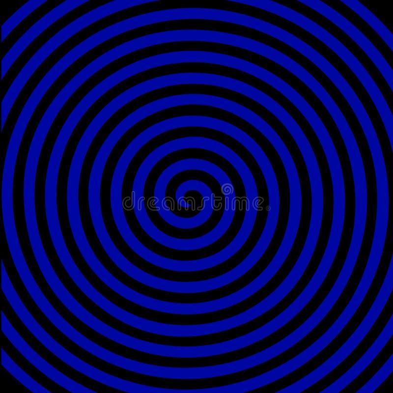 Schwarze blaue runde abstrakte Turbulenzhypnotik-Spiralentapete stock abbildung