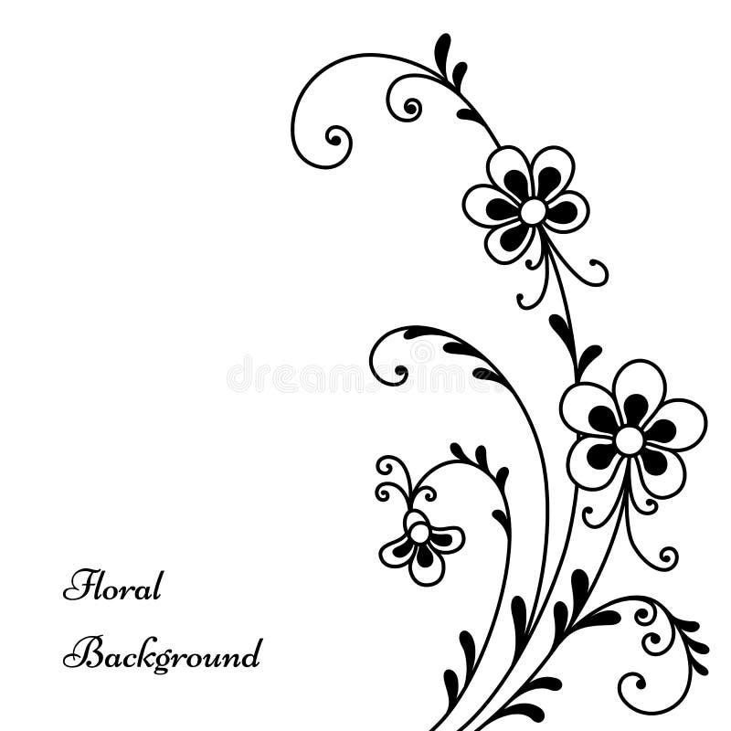 Schwarze Blumen auf Weiß stock abbildung