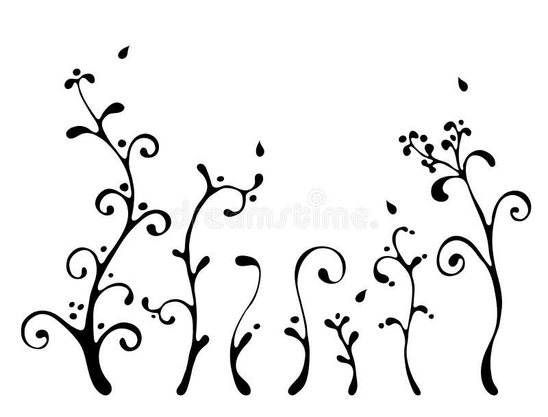 Schwarze Blumenelemente lizenzfreie abbildung