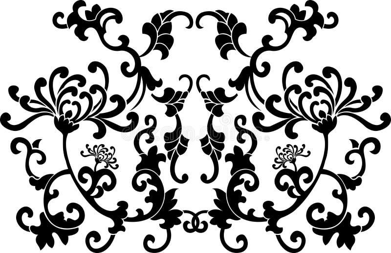 Schwarze Blumenkurven-Verzierung lizenzfreie abbildung