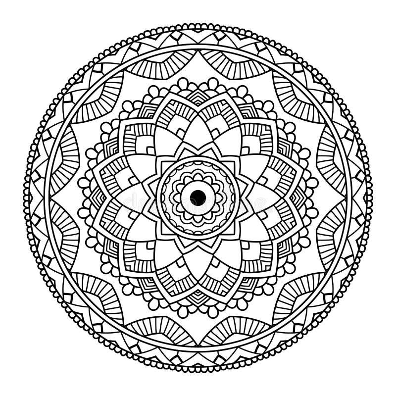 Schwarze Blumenmandala lizenzfreie abbildung