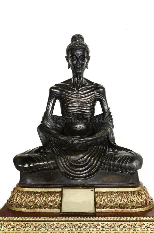 Schwarze Buddha-Statuenlage dünn stockbilder