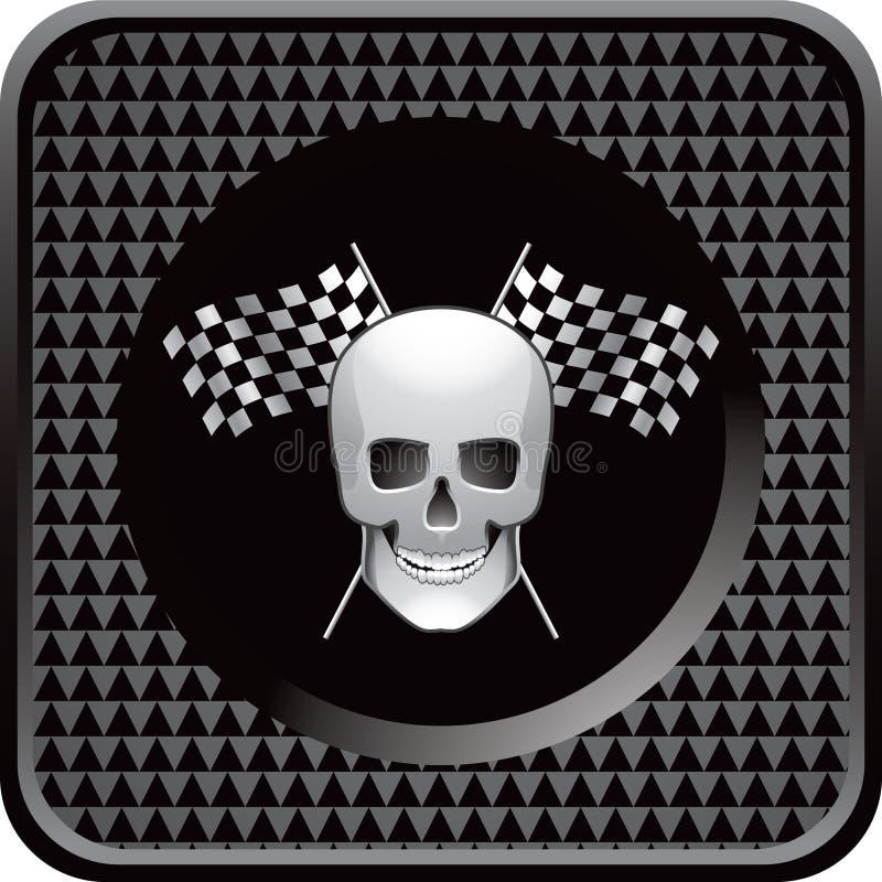 Schwarze checkered Web-Ikone, die Markierungsfahnen und Schädel läuft vektor abbildung