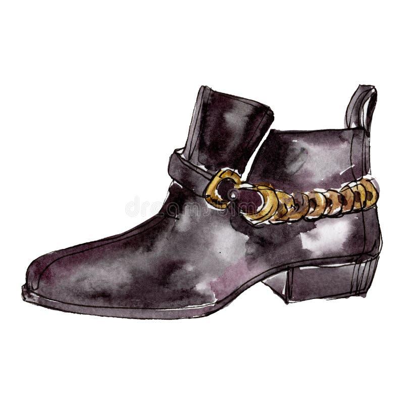 Schwarze Chelsea-Schuhskizzen-Zauberillustration in einem lokalisierten Element des Aquarells Art Watercolourhintergrundsatz stock abbildung